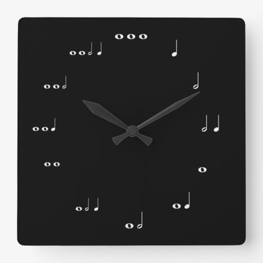 Black and white Musical notes Square Wall Clock