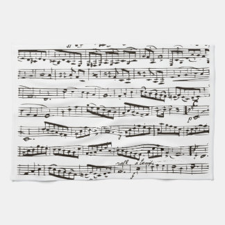 Black and white musical notes tea towel