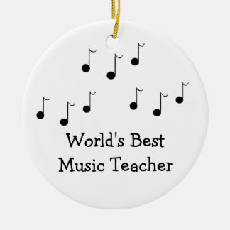 Black and White Musical Notes Teacher Christmas Ornament