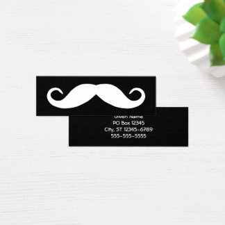 Black and White Mustache Mini Business Card