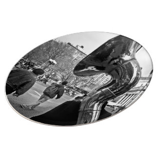 black and white mysterious trumpet player plate