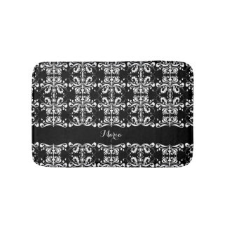 Black and White Named Damask Bath Mat