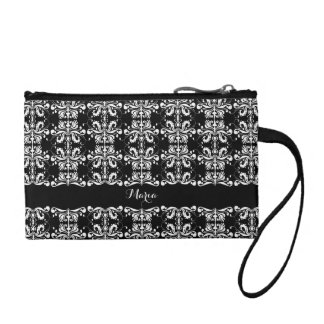 Black and White Named Damask Change Purse