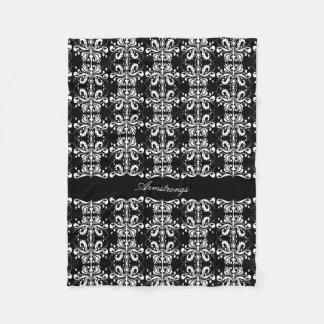 Black and White Named Damask Fleece Blanket