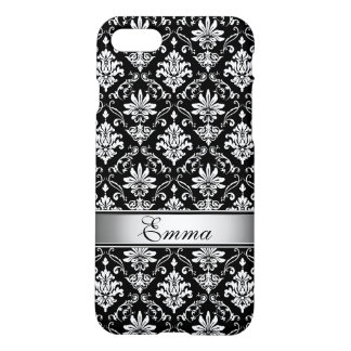Black and White Named Damask iPhone 7 Case