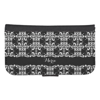 Black and White Named Damask Samsung S4 Wallet Case