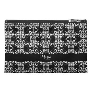 Black and White Named Damask Travel Accessory Bag