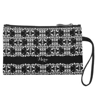 Black and White Named Damask Wristlet Purse