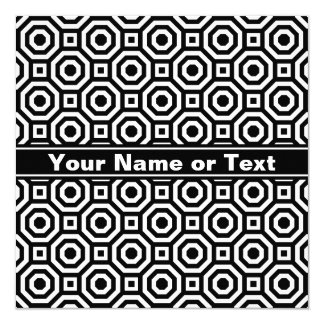 Black and White Nested Octagon Invitation