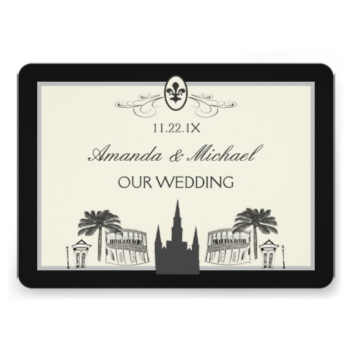 Black and White New Orleans Scenes Save the Date Invites