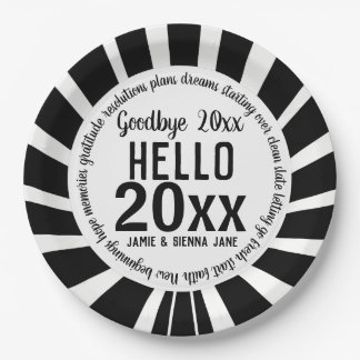 Black and White New Year's Paper Plate