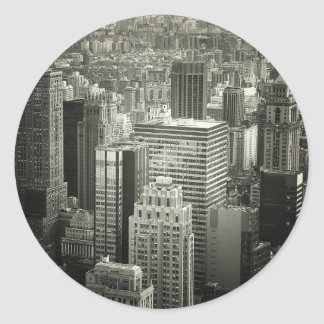 Black and White New York City Skyline Classic Round Sticker