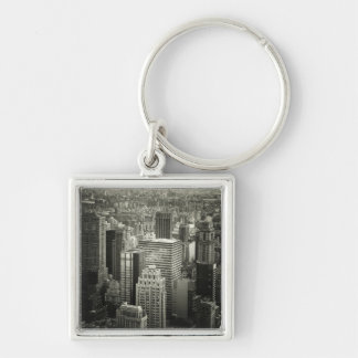 Black and White New York City Skyline Silver-Colored Square Key Ring