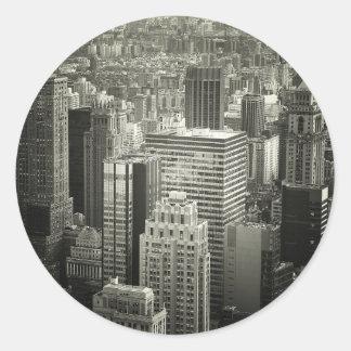 Black and White New York City Skyline Classic Round Sticker