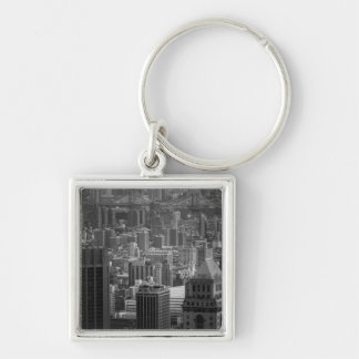 Black and White New York Cityscape Silver-Colored Square Key Ring