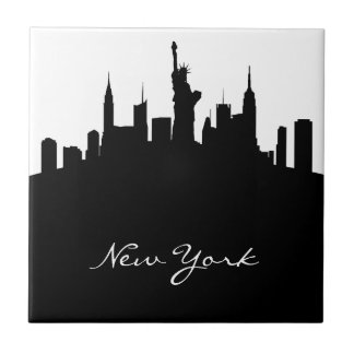 Black and White New York Skyline Small Square Tile