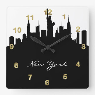 Black and White New York Skyline Square Wall Clock