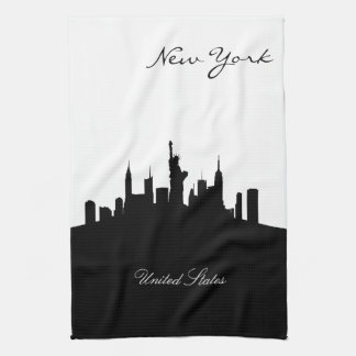 Black and White New York Skyline Towels