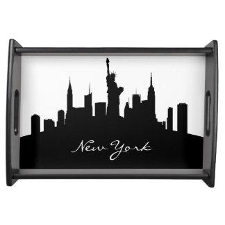 Black and White New York Skyline Service Tray
