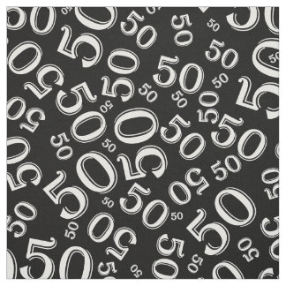 Black and White Number 50 Typography Pattern Fabric
