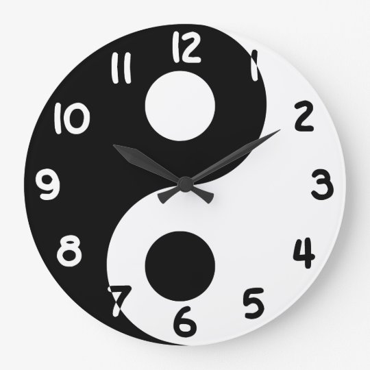Black and White Numbers Yin Yang Large Clock
