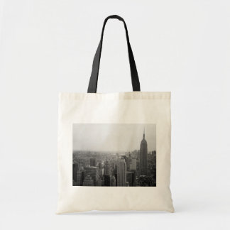 Black and White NYC Skyline Cityscape Tote Bags