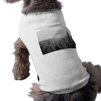 Black and White NYC Skyline Cityscape Sleeveless Dog Shirt