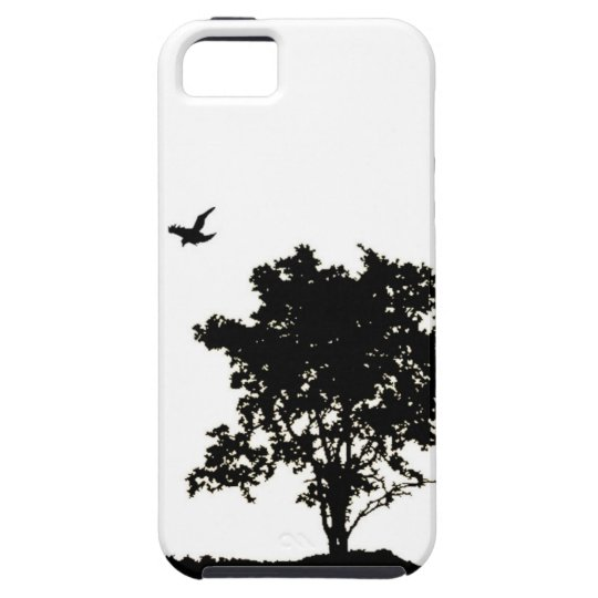 Black and White Oak tree with Crow Iphone