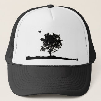 Black and white Oak tree with crow Trucker hate Trucker Hat