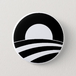 black and white obama logo 6 cm round badge