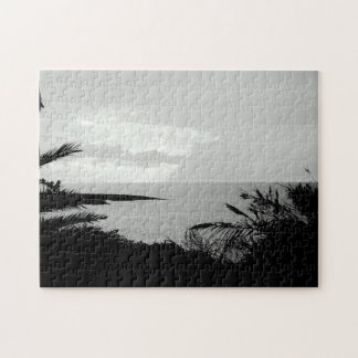 Black and White Ocean View Photograph Jigsaw Jigsaw Puzzle