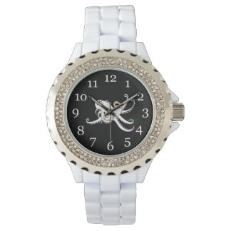 Black and White Octopus Bright Colorful Tentacles Wristwatches
