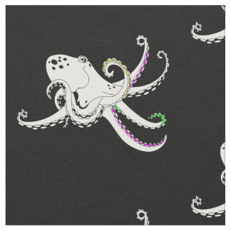 Black and White Octopus Cool Colorful Tentacles Fabric