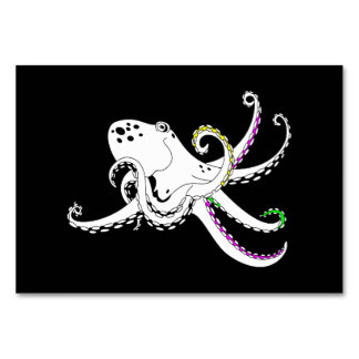 Black and White Octopus Cute Colorful Tentacles Table Cards