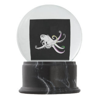 Black and White Octopus Funny Colorful Tentacles Snow Globes