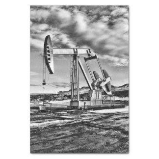 "Black and White Oilfield Pumping Unit 10"" X 15"" Tissue Paper"