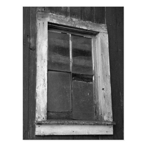 Black and White Old Barn Window Postcard