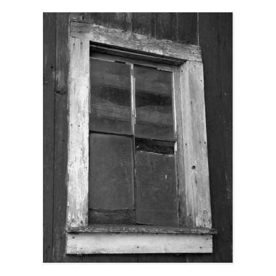 Black and White Old Barn Window Postcard
