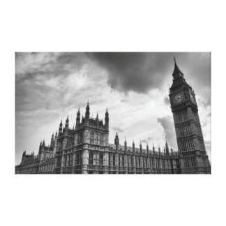 Black and White Old Gothic London Landscape Canvas