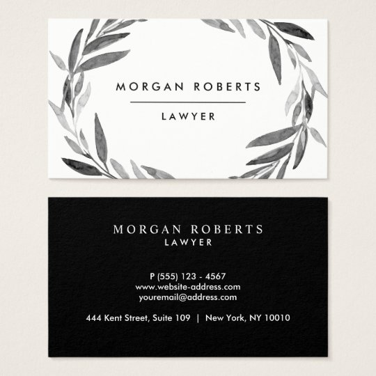 Black and White Olive Leaf Wreath Professional Business Card
