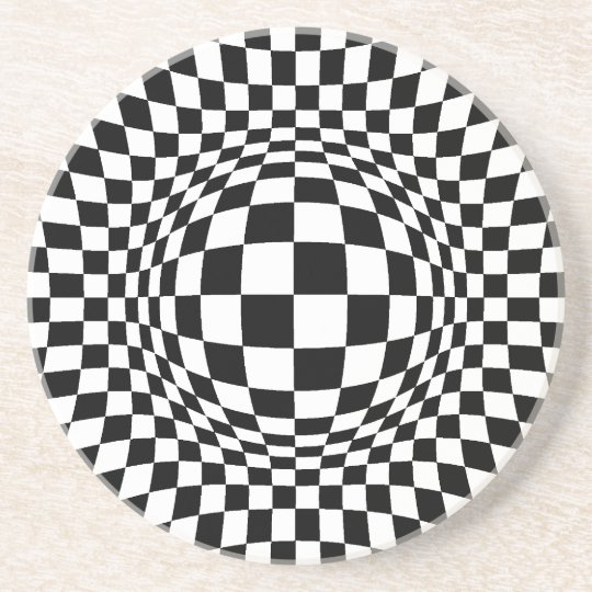 Black and White Op Art Coaster