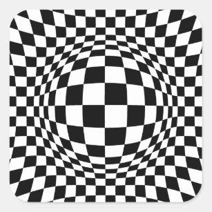898db333730080 Black and White Op Art Square Square Sticker