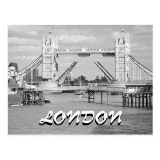 Black and white Open Tower Bridge London postcard