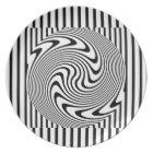 Black and White Optical Illusion Stripe Plate