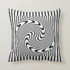 Black and White Optical Illusion Throw Pillow. Cushion
