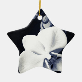 Black and white orchid ceramic star decoration