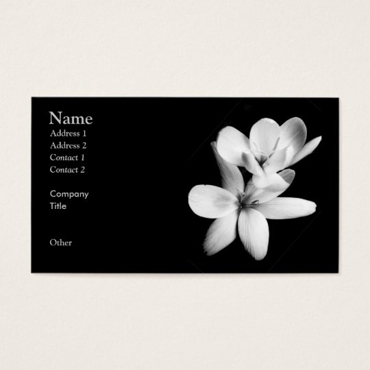 Black and White Orchid Floral Business Card