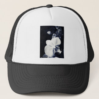 Black and white orchid trucker hat