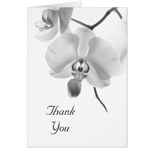Black and White Orchids Bridesmaid Thank You Card