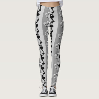 Black and White Orchids Pattern Leggings